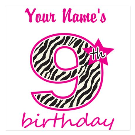 9th birthday card template 9th birthday personalized flat cards by mightybaby