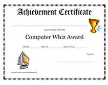 Computer Certificate Template Free Printable Computer Whiz Award Certificates