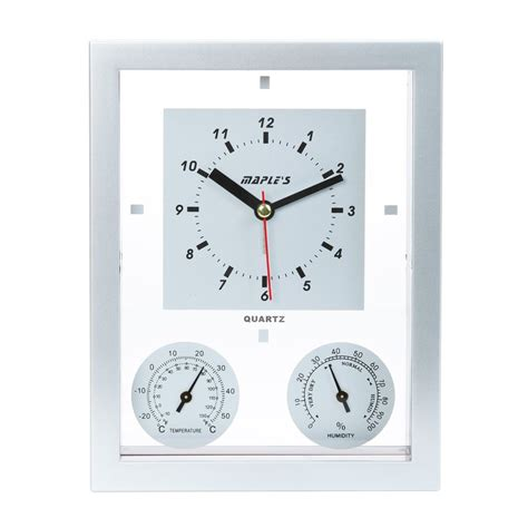 Multi Analog Shop Maple S Multi Function Analog Rectangle Indoor Wall Combination Clock With Alarm At Lowes