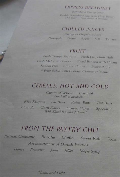 Reflection Dining Room Menu by Cruiseclues Cruises Horizon Breakfast