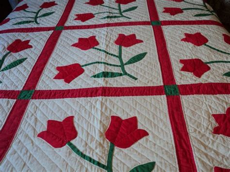 Traditional Patchwork Quilt Patterns - traditional tulip applique quilt pattern quilting