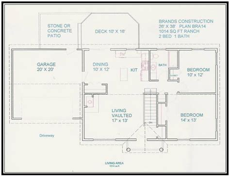 free home blueprints free home plan 1014 sq ft