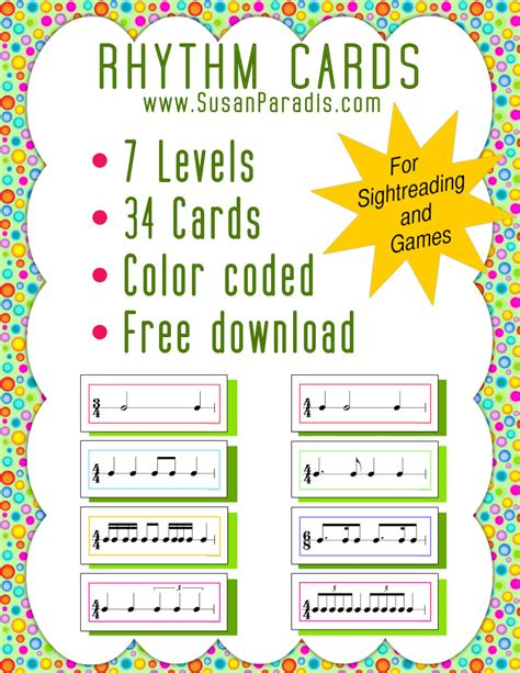 printable rhythm flash cards color coded rhythm pattern cards susan paradis piano