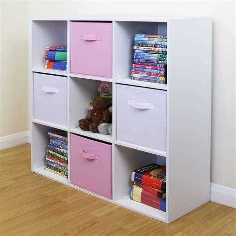 bedroom organizer 9 cube kids pink white toy games storage unit girls boys