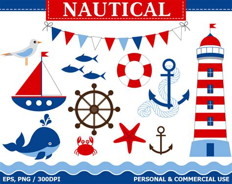 digital nautical clip art boat lighthouse whale anchor