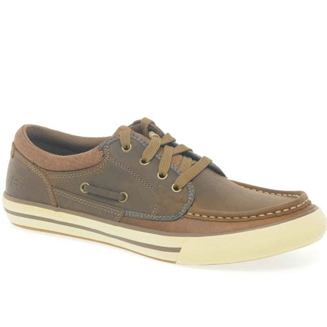 sketcher shoes skechers skechers creons brown leather mens boat shoes