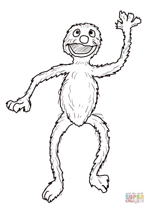 sesame street grover waving coloring page free printable