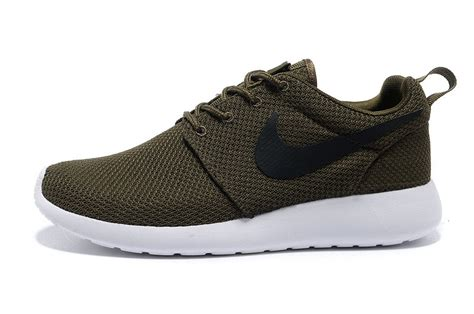 army nike shoes nike roshe run mens shoes army green white outlet