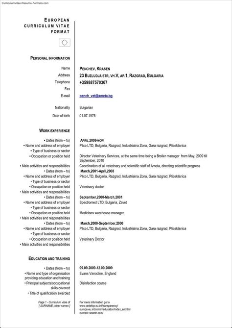 executive classic resume template sample curriculum vitae