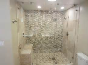 bathroom floor to ceiling frameless glass shower door