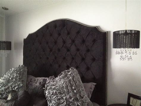Black Velvet Headboard Black Velvet Tufted Elongated Cavendish Shape