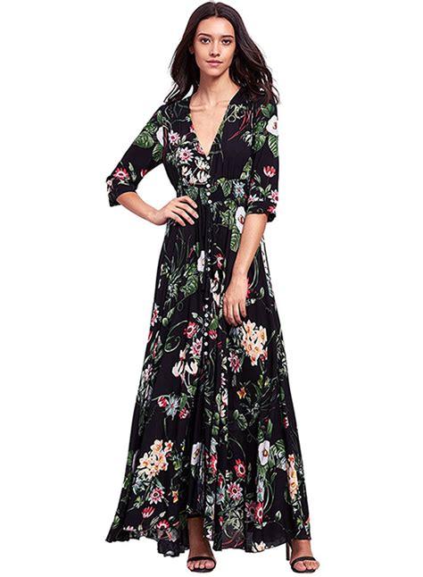 Floral 3 4 Sleeve Dress v neck 3 4 sleeve floral boho dress oasap