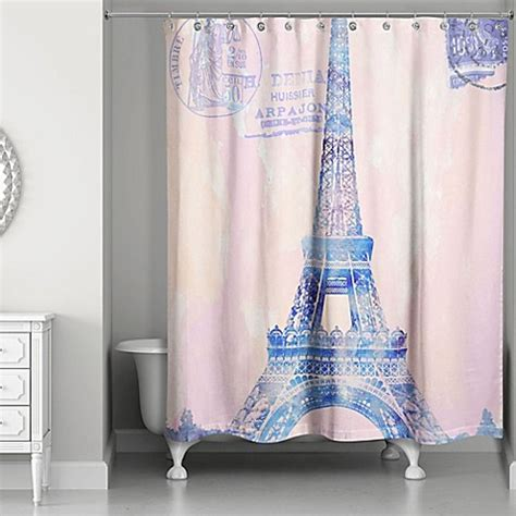 paris curtains bed bath beyond designs direct watercolor paris shower curtain in pink