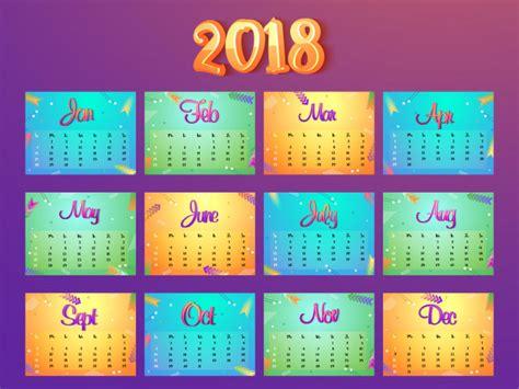 Calendario De 2018 Completo Juego Completo De 12 Meses Calendario 2018 Descargar