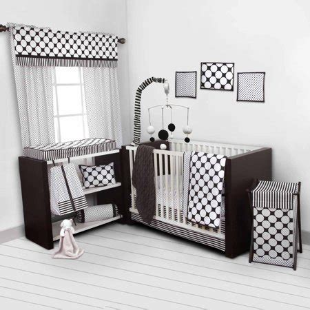 bacati dots pin stripes black white 10 nursery in