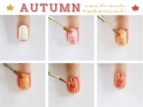 nail art leaf tutorial super easy step by step fall nail tutorials fashionsy com