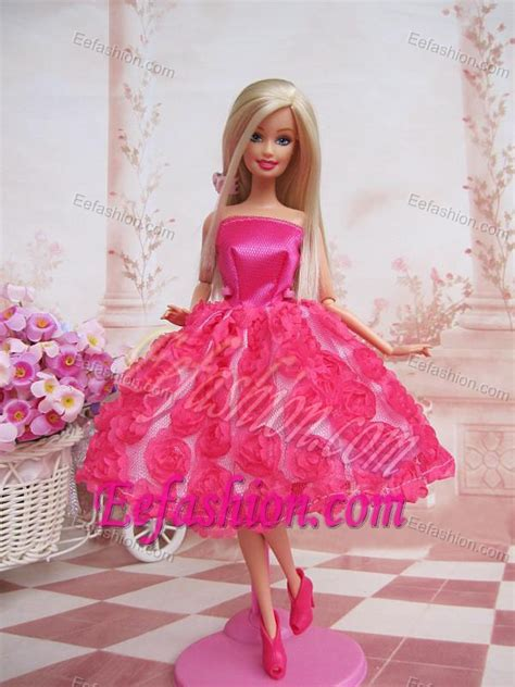 Sweet Ball Gown Hot Pink Hand Made Flowers With Tea length