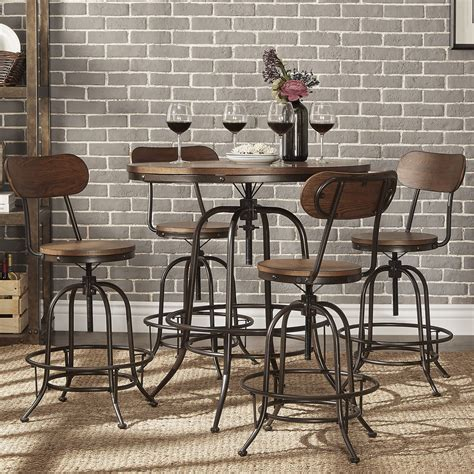 industrial pub table set berwick industrial style counter height pub