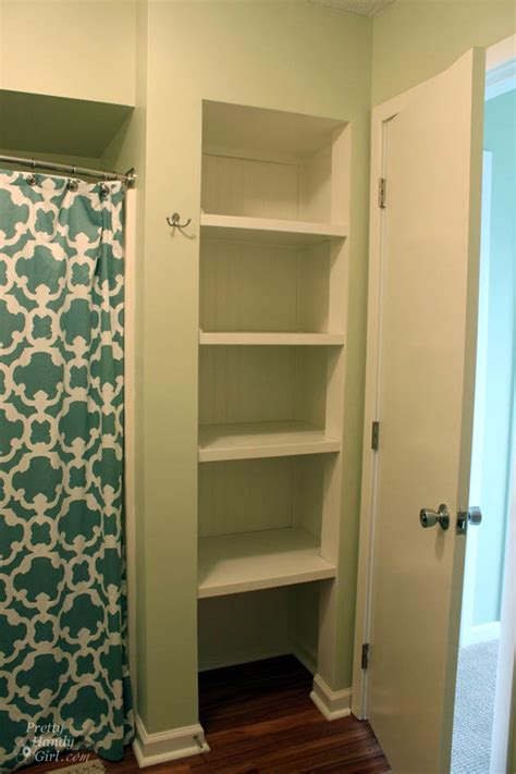 Topsail Beach Condo Renovation Pretty Handy Girl Bathroom Closet Shelving