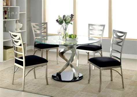round glass dining table for 6 roxo round glass dining table by furniture of america