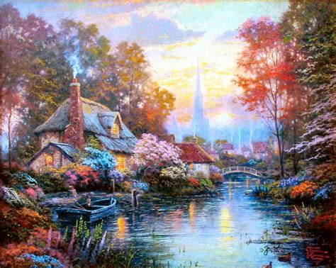 Cottage Paintings By Kinkade by Nanette S Cottage 16x20 G P Framed Limited Ed