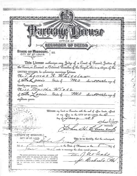 Marriage License Missouri Records Wirtz Family Of Prussia And St Louis Missouri The Heritage