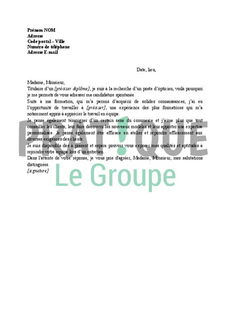 Lettre De Motivation Ecole Opticien Lunetier Lettre De Motivation Pour Opticien En Candidature