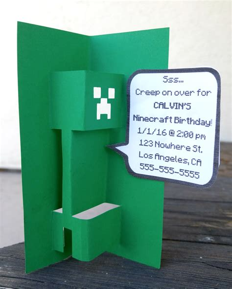 minecraft creeper pop up card template hoardable 02 03 16 free 3d popup minecraft creeper svg