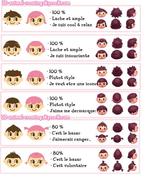Animal Crossing Hairstyles by Hairstyle Combinations Animal Crossing New Leaf 2017