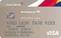 bank of america business cards asiana visa 174 business credit card from bank of america