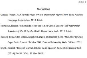 how to format the works cited page in mla style jerz s