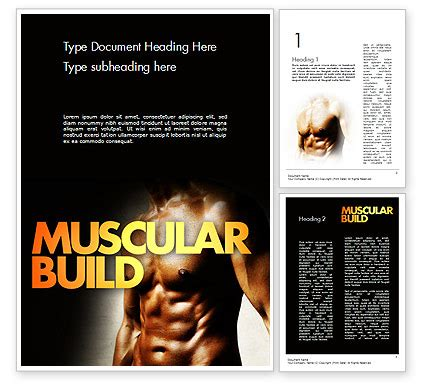 531 bodybuilding template muscular build powerpoint template backgrounds 11531