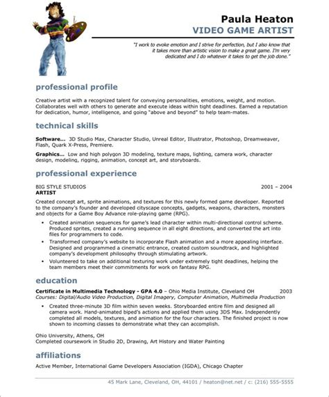 Resume Sample Singapore Pdf by Video Game Artist Free Resume Samples Blue Sky Resumes