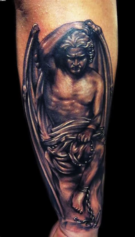angel arm tattoo designs new michael defeats lucifer on arm