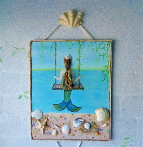 Brown And Turquoise Bedroom Ideas mermaid on a swing mixed media painting from