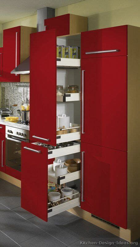 #Kitchen of the Day: Modern Red Kitchens. Pull out pantry
