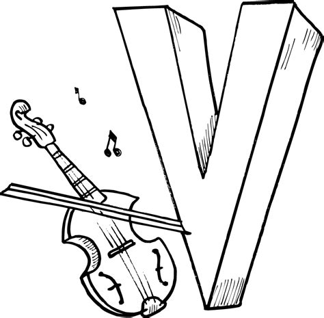 free coloring pages of v for violin