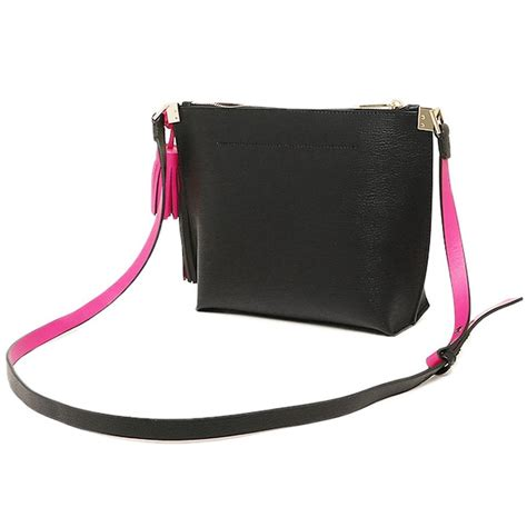 Kate Spade Peper Foster Black Sweetheart Pink Authentic Kate Spade Foster Court Pepper Leather Crossbody