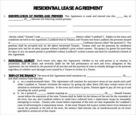 Template Residential Lease Agreement by Printable Lease Agreement 6 Documents For Free