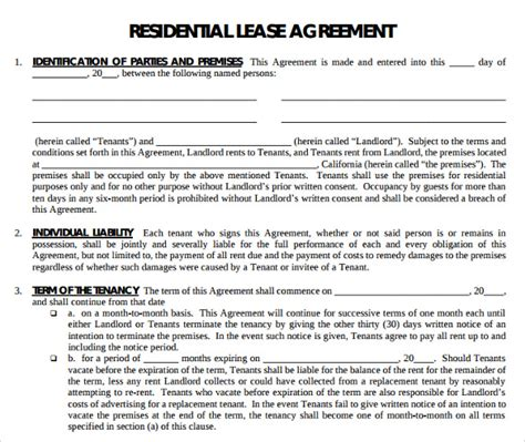 16 Printable Lease Agreement Templates Download For Free Sle Templates Residential Lease Contract Template