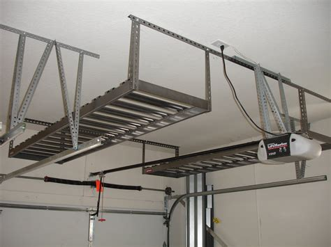 Garage Storage Racks Crowded Garage Overhead Storage Diy With White Wall Applied