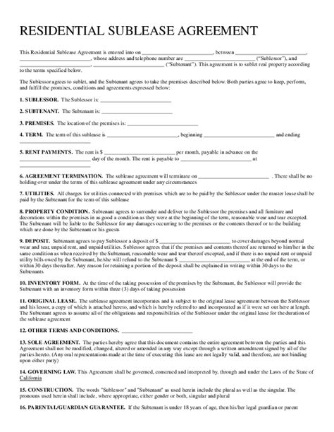 residential sublease agreement template fill out a residential sublease agreement form for