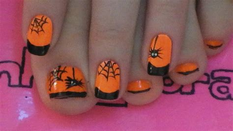 nail art toe tutorial spider and web toe nail art tutorial for halloween youtube