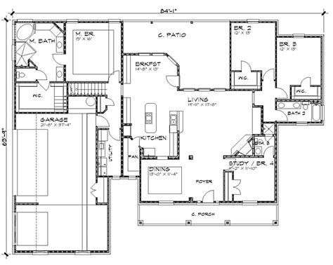 montana house plans ranch house plan with 4 bedrooms and 3 5 baths plan 4245