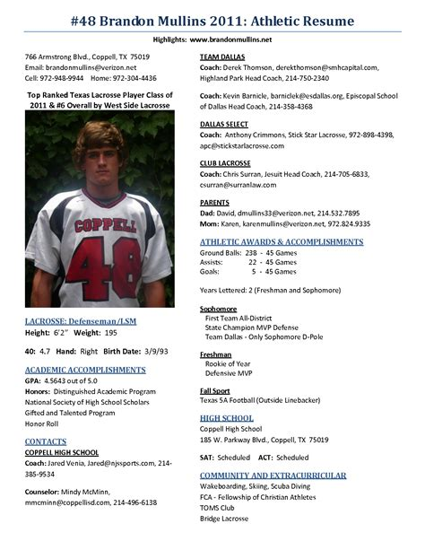 Best Photos Of High School Football Profile Templates College Athletic Resume Template Athletic Resume Template