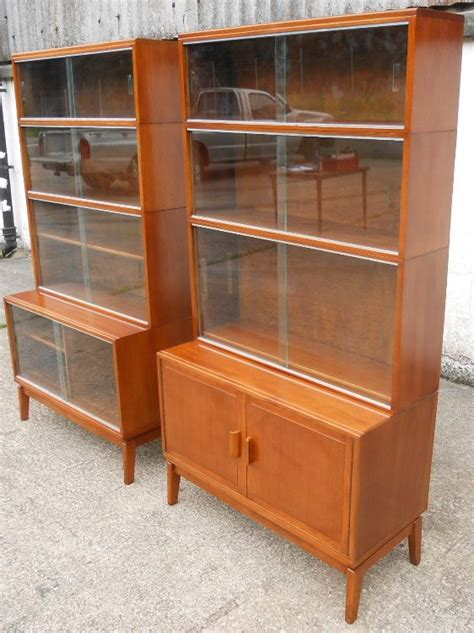 Glass Fronted Bookcases by Pair Mahogany Glass Fronted Bookcases By Minty Sold
