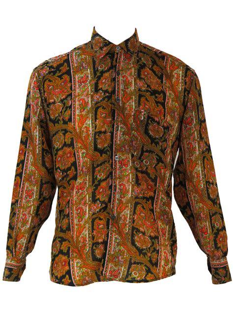 multi coloured l fine wool multi colour paisley floral print shirt l