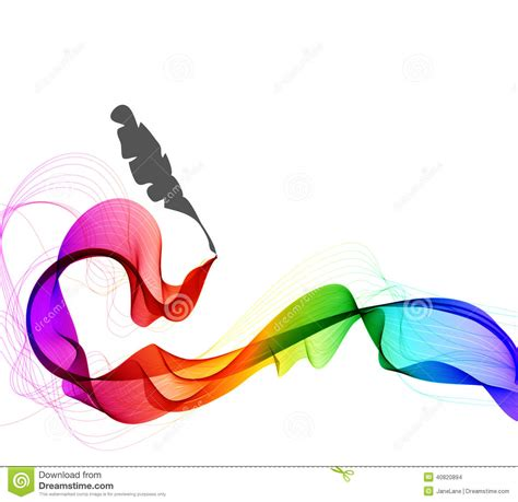 abstract color background with wave and feather pen stock