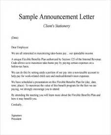 Announcement Template by Sle Announcement Letter Template 9 Free Documents