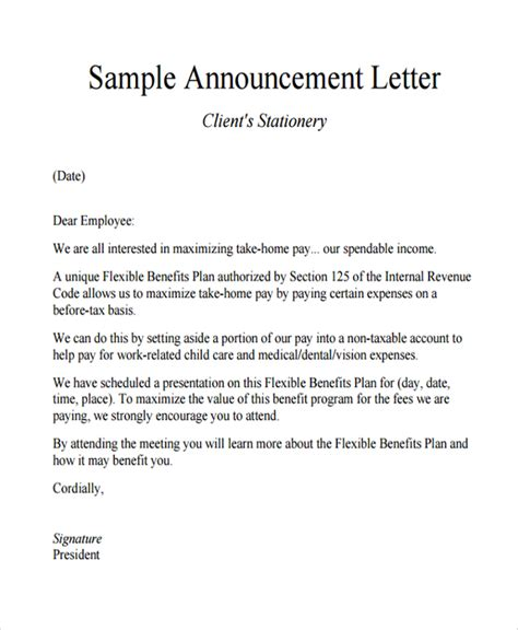 sle announcement letter template 9 free documents